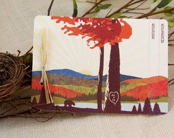 Fall Appalachian Mountains Wedding Invitation // 3pg Booklet Livret Invite with Perforated RSVP Postcard and Envelopes