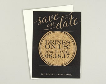 Drinks on us Cork Coaster Save the Date with A7 Envelope