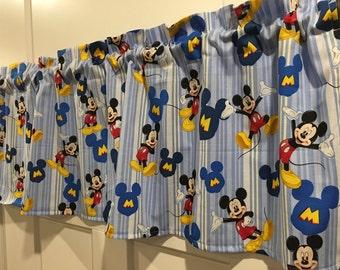 Disney Mickey Mouse Blue Stripes Valance Curtain