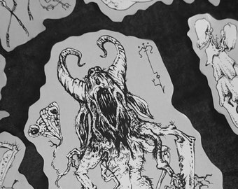 Art Sticker Monster demon Bestiary set stickers alien death metal creatures from void cosmic horror surreal punk ghastly sickening tentacle
