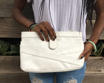White Leather Convertible Clutch
