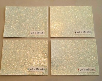 4 Sparkly Card Set / White Glitter Collection / Stationery Set / just a little note / Blank Note Cards / Pearl / Thank you cards / White