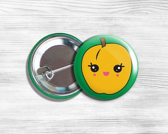 Kawaii Apricot Vegetarian Vegan PinBack Button Pin 1.75""
