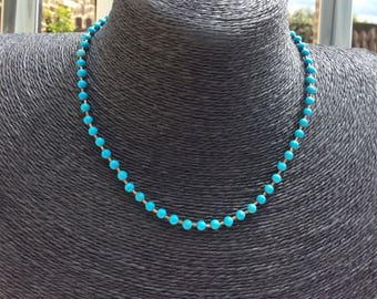 Beautiful Small Turquoise Bead Necklace with Silver Clasp.