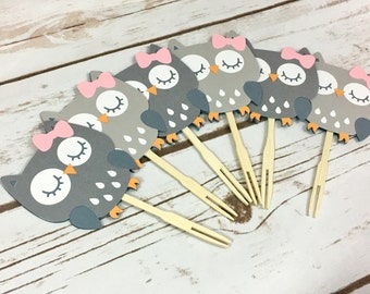 12 Grey Woodland Owls Cupcake Toppers, Cupcake Toppers, Birthday Party, Baby Shower, Party Decor