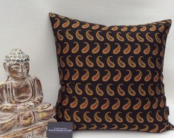 Silk Paisley and Black Velvet Cushion