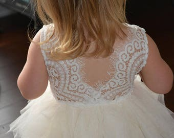 Beautiful Baptism dress, christening gown, flower girl dress, baby girl dress, white dress, tutu, baby girl dress, first birthday dress