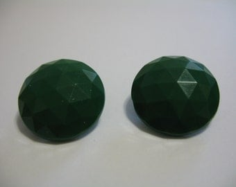 Vinatge Costume Jewelry  Clip On Earrings Green Faceted Gemstone