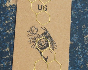 "Bookmark embroidered bees ""SAVE US"" - bookmark"