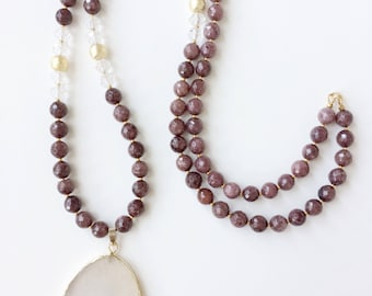 Agate Long Beaded Necklace with Natural Gold Plated Geode Druzy Agate Pendant