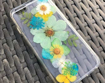 Dried Pressed Flowers Case, iPhone 7 plus case, iPhone 7 Case, iPhone 6s Case, Samsung Galaxy S8 Case, Clear iPhone X Case Green Flowers 005