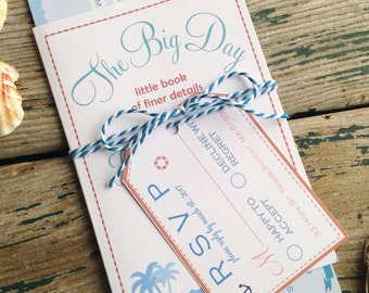 Destination Cruise Wedding Invitation, Boarding pass style, Nautical themed wedding