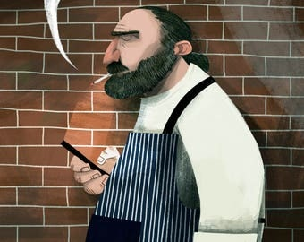 Le Chef - Limited Edition A3 Giclée Print - 297mm x 420mm