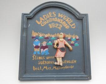 Wooden Sign - French / English - Tennis - Suzanna Lenglen