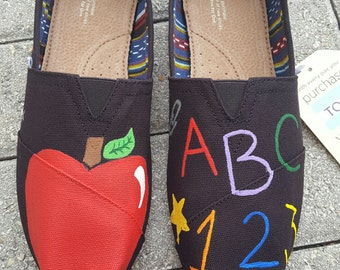Hand Painted Teacher Toms