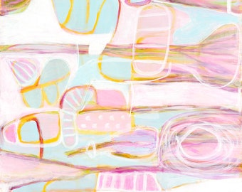 "Pink, blue, yellow, lilac, green and white abstractj print. Giclee print of painting by Elizabeth Primmer ""Tribal"""