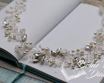 Wedding hair jewelry, pearls and rhinestones bridal wreath, silver bridal hair vine
