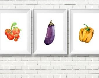 Veggie Printable Art, Veggie Art Set, Set of 3 Veggies, vegetable art, veggie painting, veggie watercolor, watercolor kitchen, kitchen decor