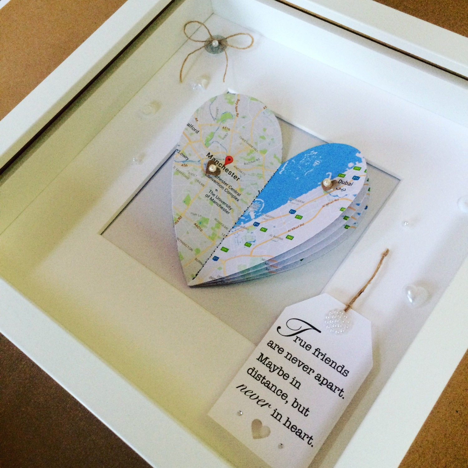 Best friends gift couples gift gifts for her distance for Diy map heart frame