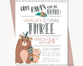 Tribal Birthday Invitation // Party Invitation // Birthday Party Invite - Printable Template
