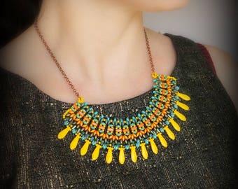 Etno bib necklace/ Necklace Tutorial/ DIY Beaded Necklace/ Beadwoven Necklace Tutorial/ Beaded Statement Bib necklace/ DIY Dagger Necklace