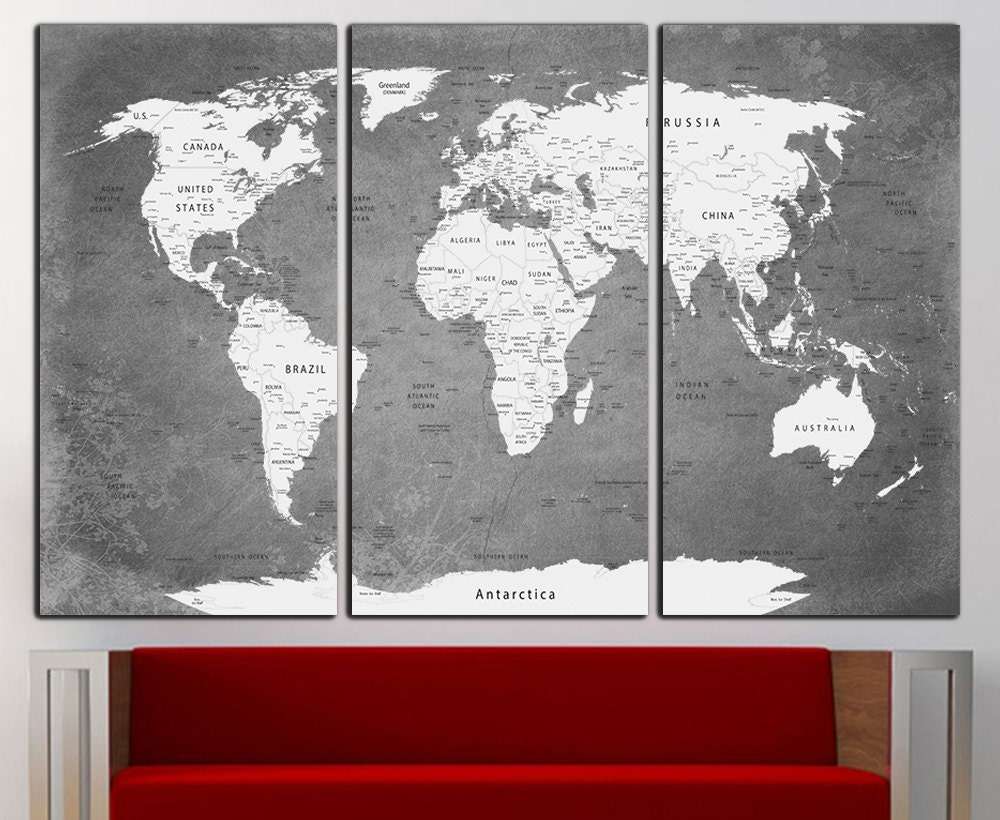 world map canvas print wall art world map wall decor world map. Black Bedroom Furniture Sets. Home Design Ideas