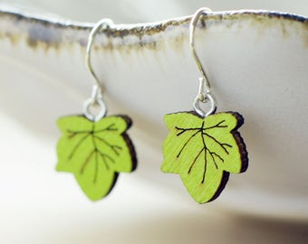 Ivy earrings | Wooden leaf earrings | Sterling silver woodland earrings | Nature earrings | Chartreuse green earrings | Hypoallergenic