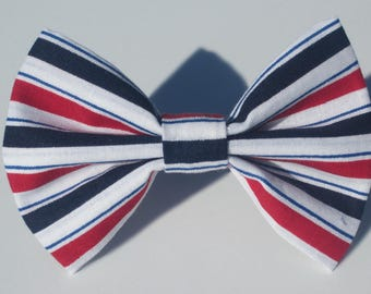 Red and Blue Stripes Bow Tie- All Sizes