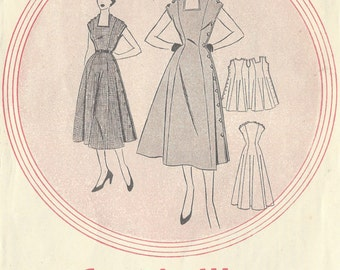 "1954 Vintage Sewing Pattern B36"" DRESS (R448) Leach way 1954"