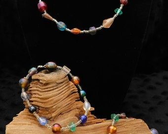 "16"" Multi-Colored Glass Bead Necklace, 10"" Anklet, 7"" Bracelet, and Earring Jewelry Set"
