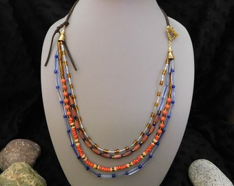 "32"" Bohemian, Multi-Colored, Multi-Strand/Layer, Faux Leather Beaded Necklace"