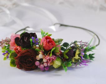 Flower crown Wedding headband Flower headband Floral crown Woodland wedding Wedding hair crown Wedding halo Bridal headband Boho flower girl