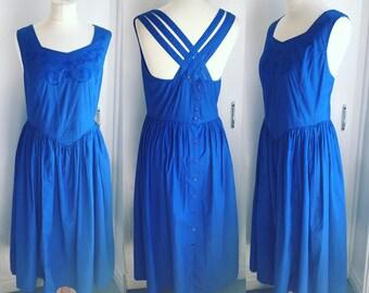 Vintage Electric Blue Cotton Sundress - UK Size 14/US Size 10