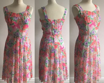 Vintage 1980s Bright Floral Sundress - UK Size 14/US Size 10