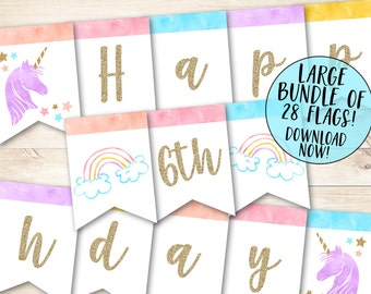 Unicorn Banner, Magical Birthday Banner,  Unicorn Birthday Banner, Rainbow Birthday Banner, Unicorn Printable Banner, Magical Banner