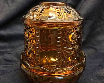 Amber Indiana Glass fairy lamp
