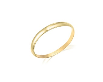 14K Solid Yellow Gold Knuckle Band Ring - Plain Round Stackable Finger Midi Thumb