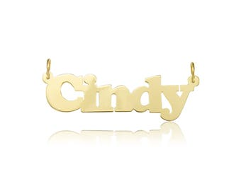 10K Solid Yellow Gold Personalized Custom Name Pendant - Alphabet Letter Necklace Charm