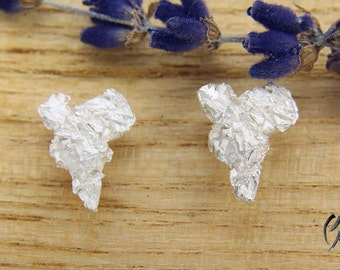 Earrings silver, wrinkled heart