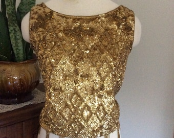 Vintage 1950's Gold Sequin Beaded Wool Sleeveless Top Small/Med