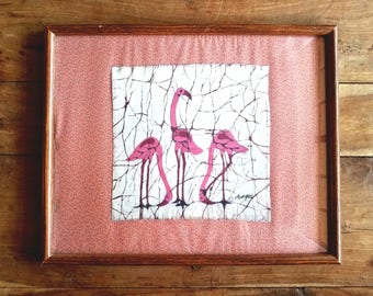 Pink Flamingo Batik Painting by J. Munqui