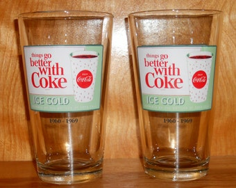 Vintage Coke Glasses - Things Go Better With Coke - Coca Cola Drinking Glasses - Set of Two Glasses - 1960 to 1969 - Coca Cola Glasses -