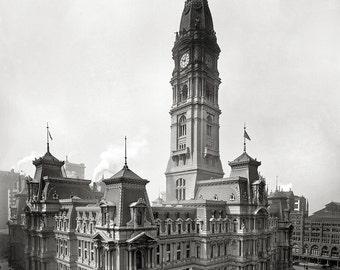 Philadelphia City Hall Old vintage (20x27) Canvas Art,Old Philadelphia,Vintage Philly,Prints.