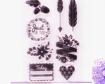 Clear stamps 8 piece set with vintage style designs