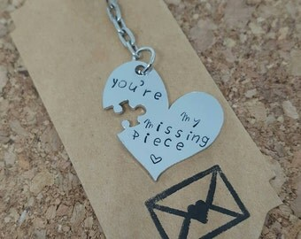 Missing piece keyring, puzzle Piece keychain, valentines gift, gift for him, gift for her, anniversary gift, wedding gift, missing piece