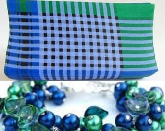 Green & Royal Blue Purse, Plaid Clutch, Medium Purse, Green Clutch, Unique Clutch, Plaid Print, Gift for Her, Blue Green Clutch, Summer Bags
