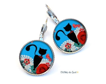 Earrings sleepers cats and flowers, blue, surgical steel hooks, ref.186