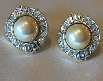 Carolee faux pearl & cubic zirconia clip on earrings