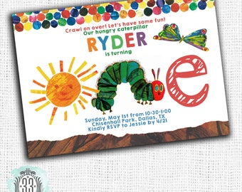 Hungry Caterpillar 1st Birthday Invitation - DIGITAL or PRINTED CARDS
