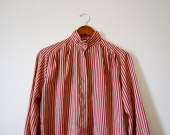 Vintage Red and Cream Stripe Silky Blouse with High Collar